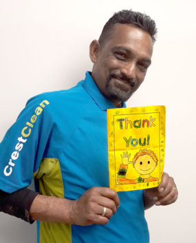 Kumaran Nair was touched to find a 'thank you' card for him and his wife from a primary school child.