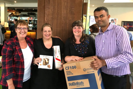 Lucky draw winners Kelly Gasdon and Helen Auty with CrestClean's Neil Kumar and Caroline Wedding.