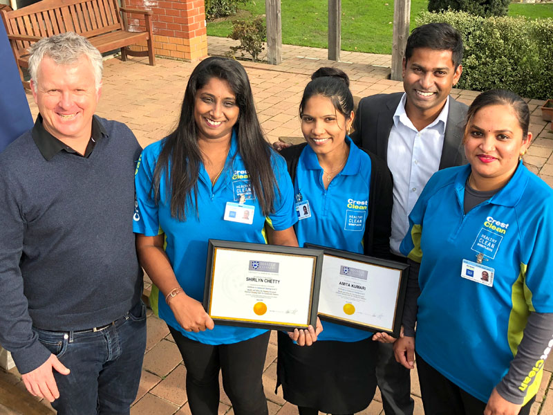 Shirlyn Chetty, Amita Kumari and Saleshni Devi receive their training awards from CrestClean Managing Director Grant McLauchlan and Yasa Panagoda, Christchurch North Regional Manager.