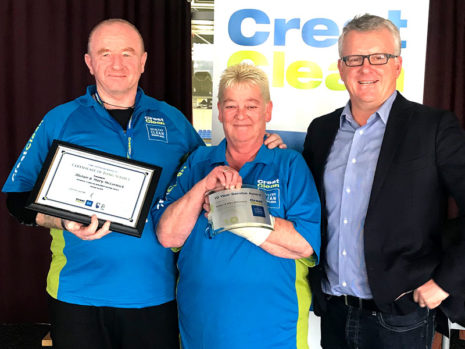 Alistair and Mary McCormick receive their Certificate of Long Service from CrestClean Managing Director Grant McLauchlan.