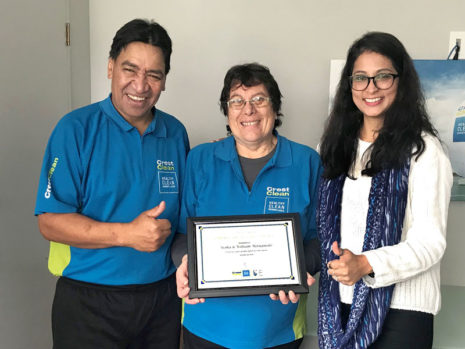 William and Aroha Metuamate receive their long service award from Shareen Raj, CrestClean's Palmerston North / Kapiti Coast Regional Manager.
