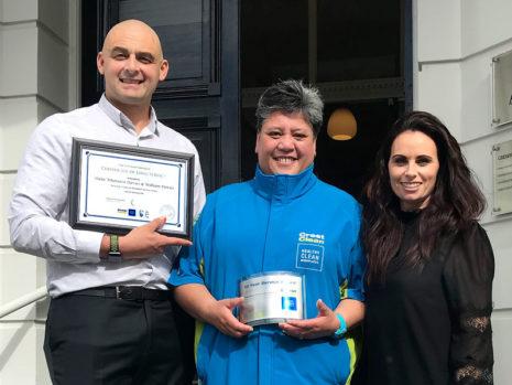 Hilda Whatuira-Davies with Dunedin Regional Managers Tony and Nicky Kramers.