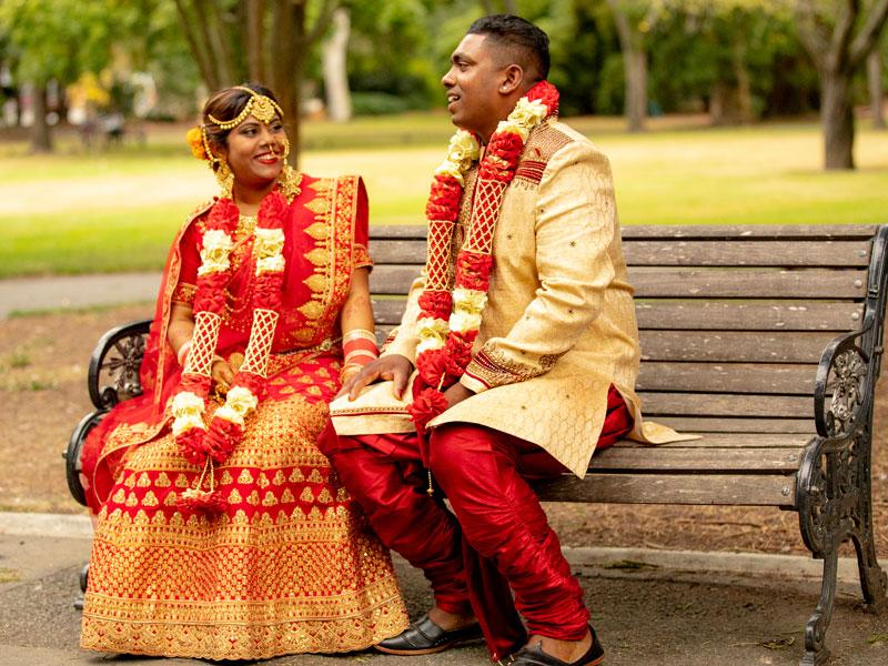 Krish and Deedee Kumar on their wedding day. Photo: Sandeep Kumar.