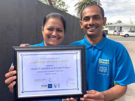 Shailesh Chandra and Ravina Prasad have been with CrestClean for five years.