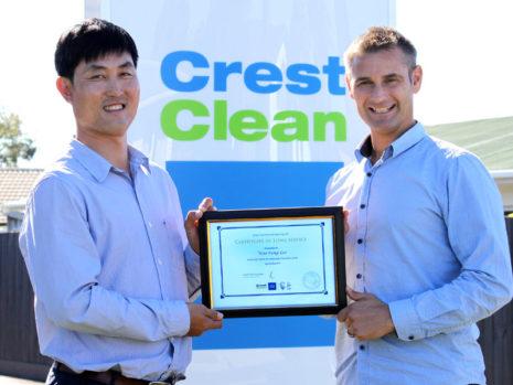 Woo-Sung Lee with CrestClean Regional Manager Jan Lichtwark