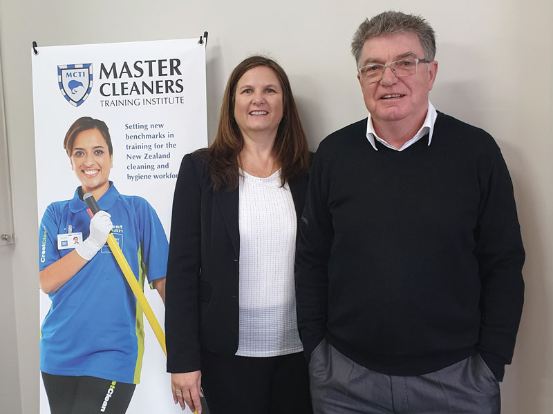 Adam Hodge with Liezl Foxcroft, General Manager Training, Master Cleaners Training Institute.
