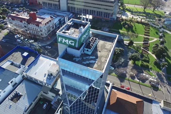 Palmerston North city centre and FMG building