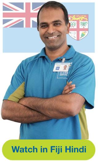 Man and flag representing Fiji Hindi Language Video
