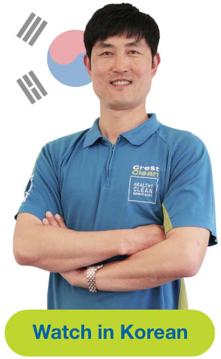 Man with flag representing Korean Language Video