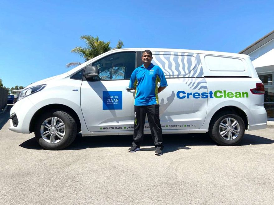 Cleaning franchisee with his new van