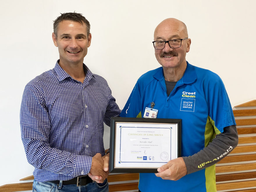 Cleaner receives long service award